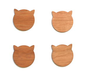 Walnut Cat Coasters - Modern Walnut Wood Cat Ears Coasters Set