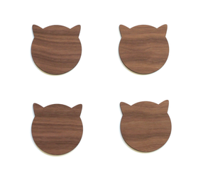 Birch Cat Coasters - Modern Birch Wood Cat Ears Coasters Set