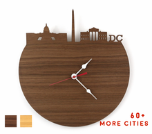 Load image into Gallery viewer, DC Skyline Time Zone Clock - Washington DC Cityscape Art Clock - Long Distance Relationship Gift