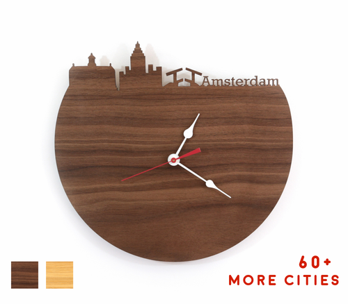 Amsterdam Skyline Time Zone Clock - Amsterdam Cityscape Art Clock - Long Distance Relationship Gift
