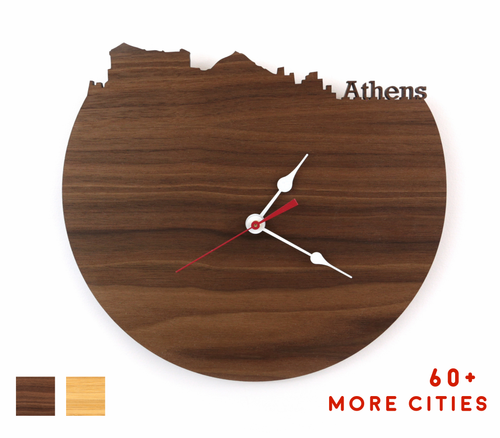 Athens Skyline Time Zone Clock - Athens Cityscape Art Clock - Long Distance Relationship Gift