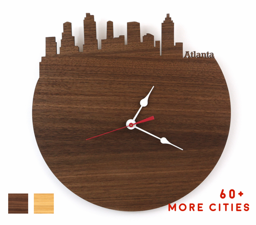 Atlanta Skyline Time Zone Clock - Cityscape Art Clock - Long Distance Relationship Gift