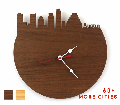 Austin Skyline Time Zone Clock - Cityscape Art Clock - Long Distance Relationship Gift