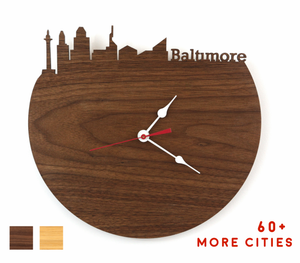 Baltimore Skyline Time Zone Clock - Baltimore Cityscape Art Clock - Long Distance Relationship Gift