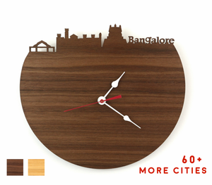 Bangalore Skyline Time Zone Clock - Cityscape Art Clock - Long Distance Relationship Gift