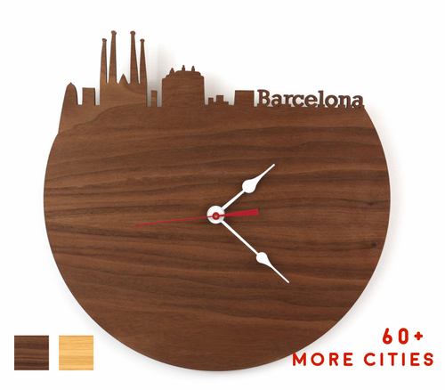 Barcelona Skyline Time Zone Clock - Barcelona Cityscape Art Clock - Long Distance Relationship Gift