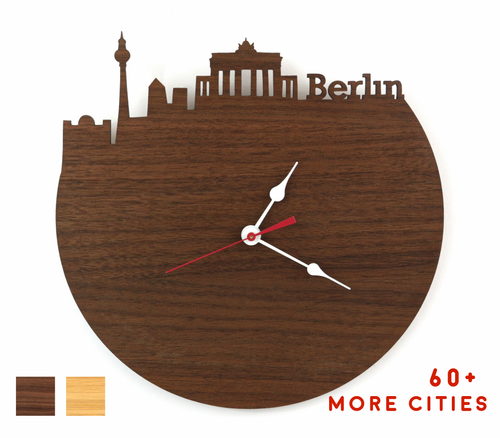 Berlin Skyline Time Zone Clock - Berlin Cityscape Art Clock - Long Distance Relationship Gift