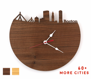 Boston Skyline Time Zone Clock - Cityscape Art Clock - Long Distance Relationship Gift
