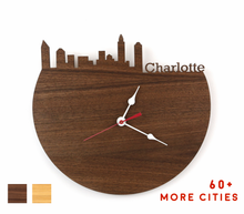 Load image into Gallery viewer, Charlotte Skyline Time Zone Clock - Cityscape Art Clock - Long Distance Relationship Gift