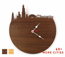Load image into Gallery viewer, Chicago Skyline Time Zone Clock - Cityscape Art Clock - Long Distance Relationship Gift