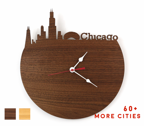 Chicago Skyline Time Zone Clock - Cityscape Art Clock - Long Distance Relationship Gift