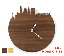 Load image into Gallery viewer, Cleveland Skyline Time Zone Clock - Cityscape Art Clock - Long Distance Relationship Gift
