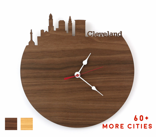 Cleveland Skyline Time Zone Clock - Cityscape Art Clock - Long Distance Relationship Gift