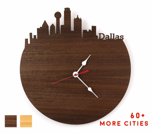 Dallas Skyline Time Zone Clock - Cityscape Art Clock - Long Distance Relationship Gift