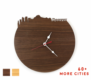 Denver Skyline Time Zone Clock - Cityscape Art Clock - Long Distance Relationship Gift