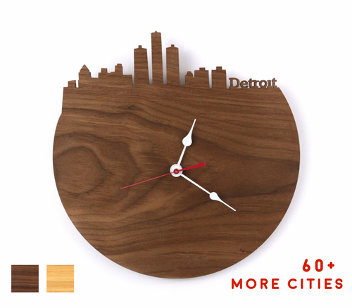 Detroit Skyline Time Zone Clock - Detroit Cityscape Art Clock - Long Distance Relationship Gift