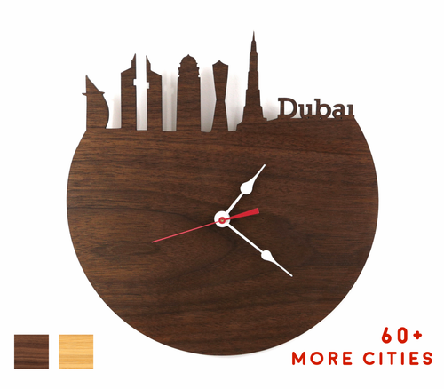 Dubai Skyline Time Zone Clock - Cityscape Art Clock - Long Distance Relationship Gift