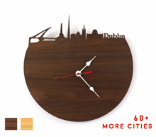 Load image into Gallery viewer, Dublin Skyline Time Zone Clock - Dublin Cityscape Art Clock - Long Distance Relationship Gift