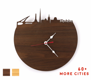 Dublin Skyline Time Zone Clock - Dublin Cityscape Art Clock - Long Distance Relationship Gift