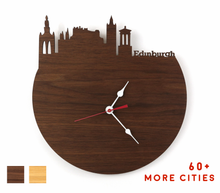 Load image into Gallery viewer, Edinburgh Skyline Time Zone Clock - Edinburgh Cityscape Art Clock - Long Distance Relationship Gift