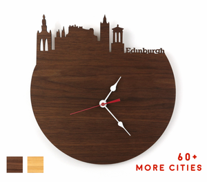 Edinburgh Skyline Time Zone Clock - Edinburgh Cityscape Art Clock - Long Distance Relationship Gift