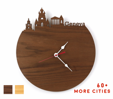 Load image into Gallery viewer, Geneva Skyline Time Zone Clock - Cityscape Art Clock - Long Distance Relationship Gift