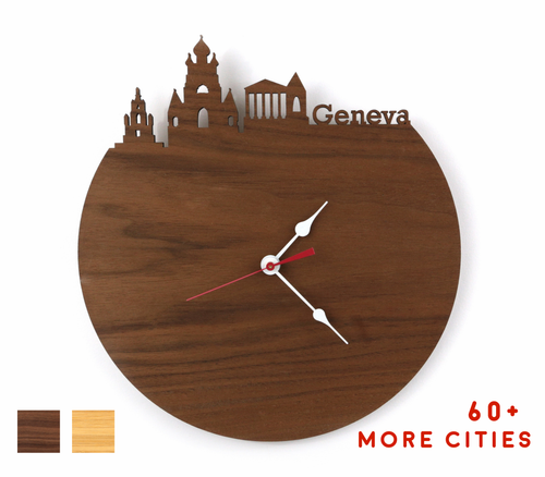 Geneva Skyline Time Zone Clock - Cityscape Art Clock - Long Distance Relationship Gift