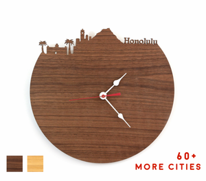 Honolulu Skyline Time Zone Clock - Cityscape Art Clock - Long Distance Relationship Gift