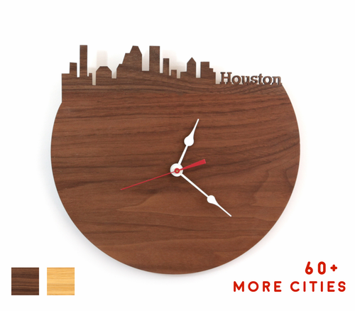 Houston Skyline Time Zone Clock - Houston Cityscape Art Clock - Long Distance Relationship Gift