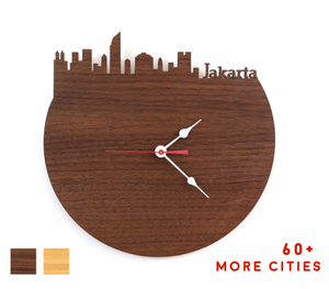 Jakarta Skyline Time Zone Clock - Cityscape Art Clock - Long Distance Relationship Gift