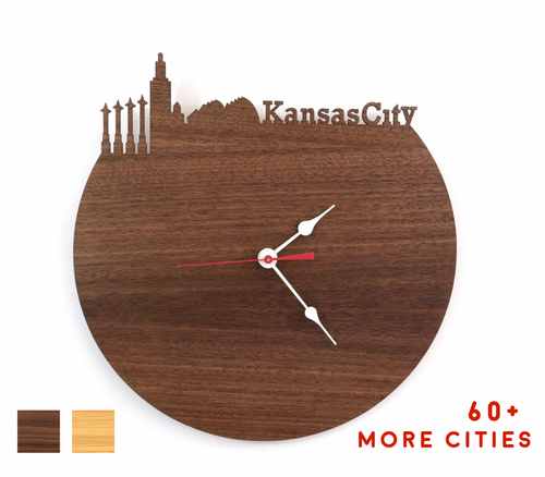 Kansas City Skyline Time Zone Clock - Cityscape Art Clock - Long Distance Relationship Gift