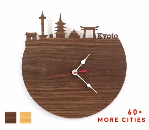 Kyoto Skyline Time Zone Clock - Cityscape Art Clock - Long Distance Relationship Gift