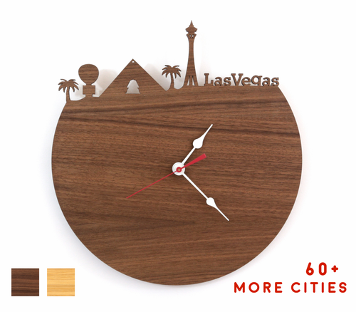 Las Vegas Skyline Time Zone Clock - Cityscape Art Clock - Long Distance Relationship Gift