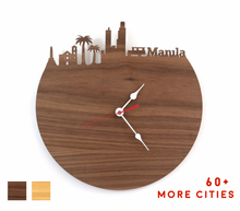 Load image into Gallery viewer, Manila Skyline Time Zone Clock - Cityscape Art Clock - Long Distance Relationship Gift