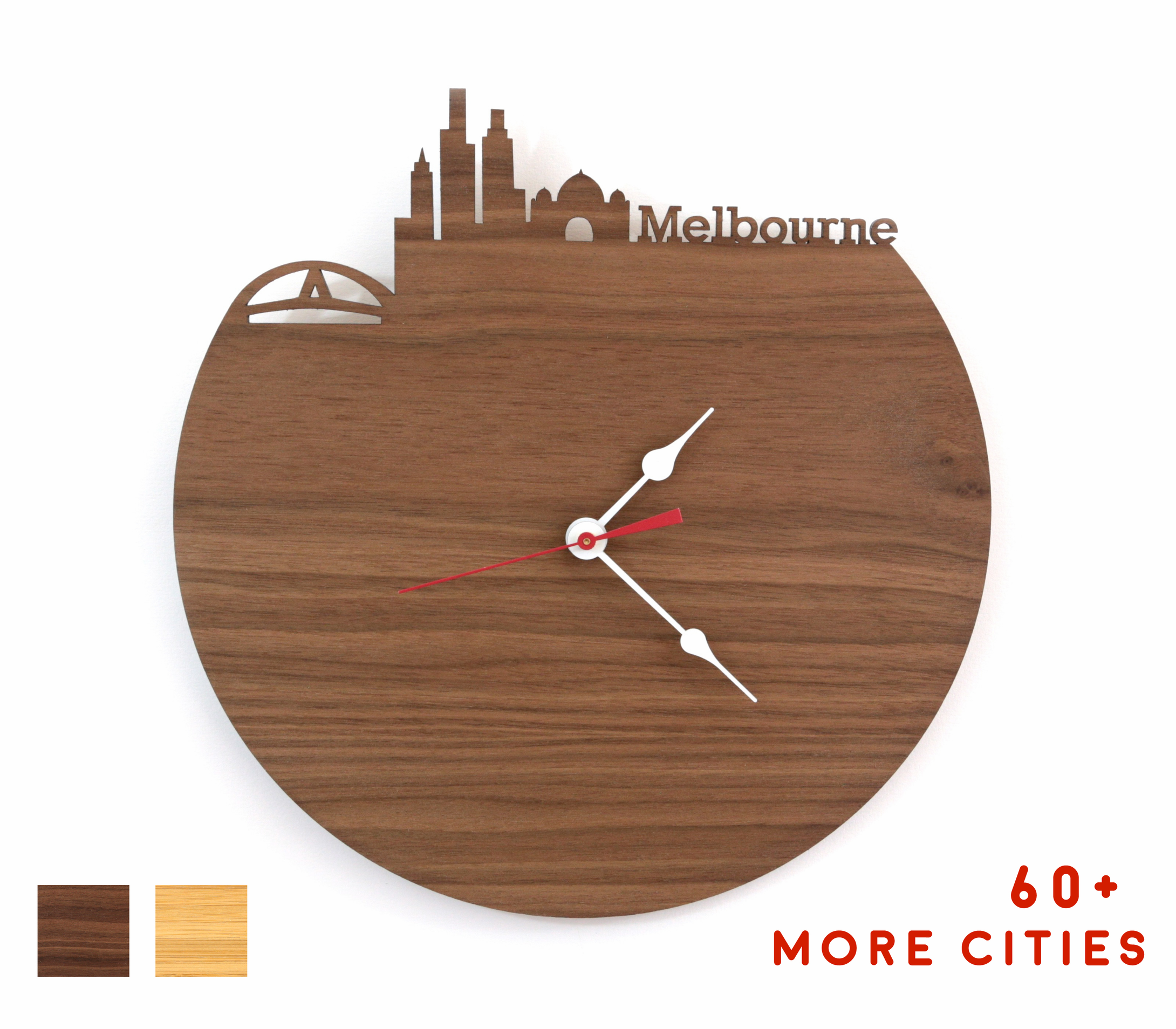 Melbourne Skyline Time Zone Clock - Cityscape Art Clock - Long Distance Relationship Gift