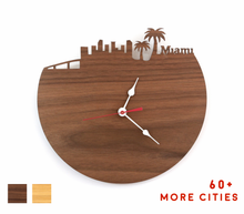 Load image into Gallery viewer, Miami Skyline Time Zone Clock - Cityscape Art Clock - Long Distance Relationship Gift