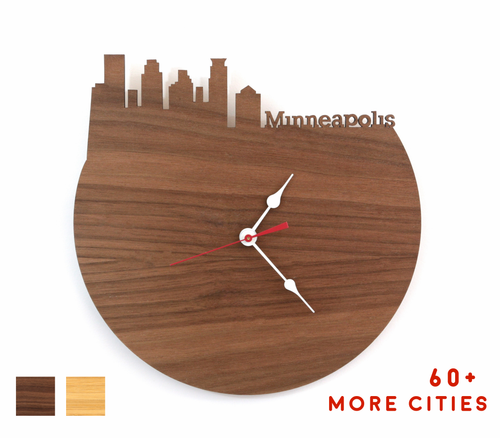 Minneapolis Skyline Time Zone Clock - Cityscape Art Clock - Long Distance Relationship Gift