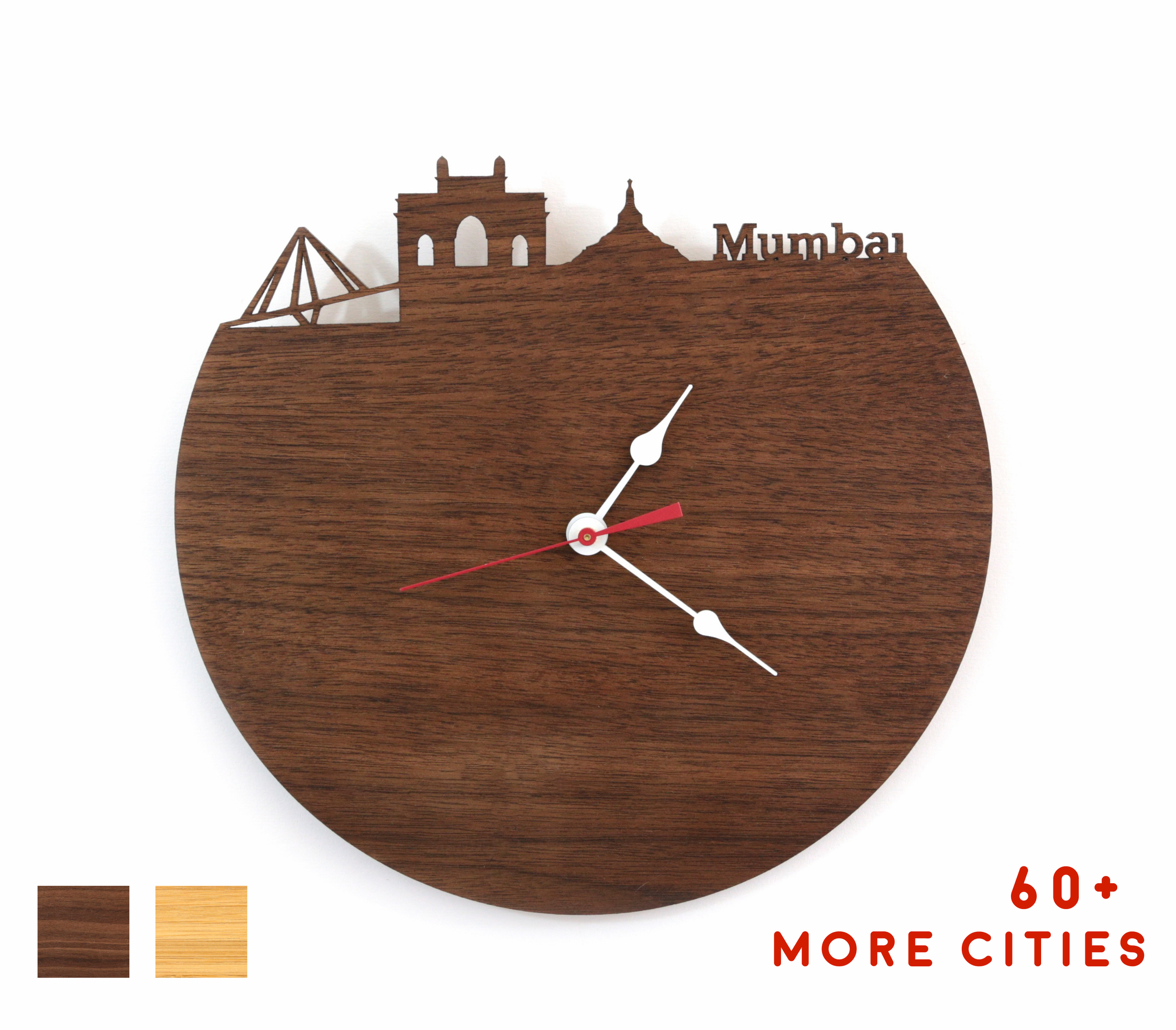 Mumbai Skyline Time Zone Clock - Cityscape Art Clock - Long Distance Relationship Gift