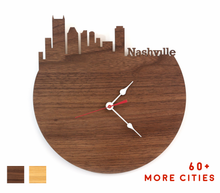 Load image into Gallery viewer, Nashville Skyline Time Zone Clock - Cityscape Art Clock - Long Distance Relationship Gift