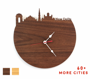 New Delhi Skyline Time Zone Clock - Cityscape Art Clock - Long Distance Relationship Gift