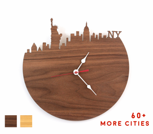 New York Skyline Time Zone Clock - NYC Cityscape Art Clock - Long Distance Relationship Gift