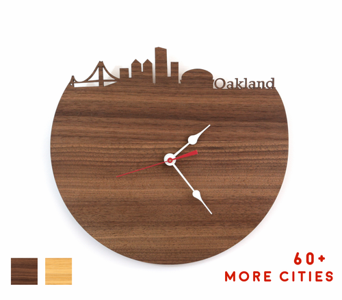 Oakland Skyline Time Zone Clock - Cityscape Art Clock - Long Distance Relationship Gift
