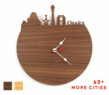 Load image into Gallery viewer, Osaka Skyline Time Zone Clock - Cityscape Art Clock - Long Distance Relationship Gift