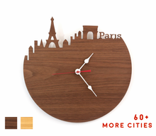 Load image into Gallery viewer, Paris Skyline Time Zone Clock - Cityscape Art Clock - Long Distance Relationship Gift