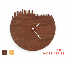 Load image into Gallery viewer, Philadelphia Skyline Time Zone Clock - Cityscape Art Clock - Long Distance Relationship Gift