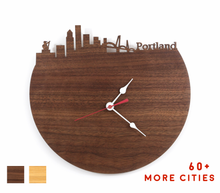 Load image into Gallery viewer, Portland Skyline Time Zone Clock - Cityscape Art Clock - Long Distance Relationship Gift