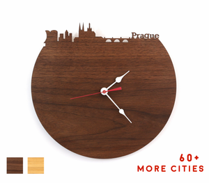 Prague Skyline Time Zone Clock - Cityscape Art Clock - Long Distance Relationship Gift