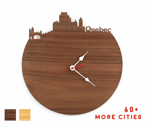 Quebec City Skyline Time Zone Clock - Quebec Cityscape Art Clock - Long Distance Relationship Gift