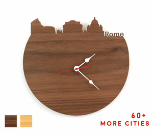Rome Skyline Time Zone Clock - Cityscape Art Clock - Long Distance Relationship Gift