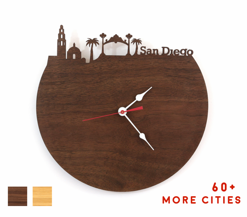 San Diego Skyline Time Zone Clock - California Cityscape Art Clock - Long Distance Relationship Gift